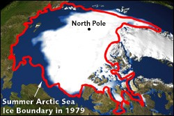 Shrinking North Pole Ice Boundary